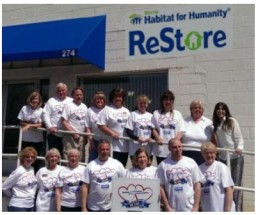Pictured here in front of the ReStore are: Bottom row: Janis Gutermuth, Flanders; Diana Lorenzo, Succasunna; Bernadette DeBlasio, Great Meadows; John Varriano, office manager, Clifton; Susan Mulholland, Budd Lake; Chris Biche, Ledgewood; and Beth O